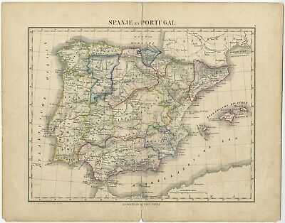 Antique Map of Spain and Portugal by Petri (c.1873)