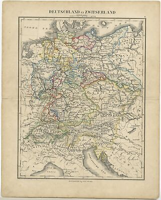 Antique Map of Germany and Switzerland by Petri (c.1873)