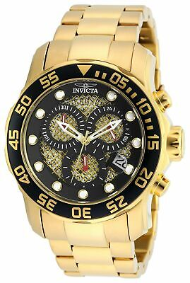 Invicta Men's Pro Diver 19837 Quartz Chronograph 18K Gold Ion-Plated SS Watch