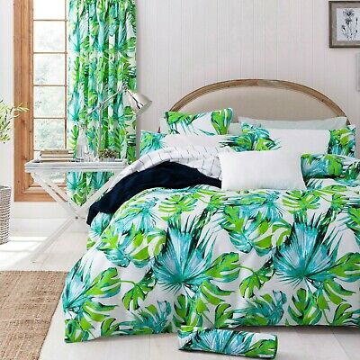 Tropical Leaf Duvet Quilt Cover Bedding Set With Pillowcases King Size Green
