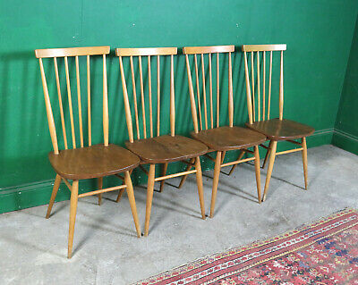 4 Rare Mid Century Ercol Dining Chairs, High Back Windsor, Model 608, Blonde