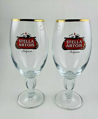 2- NEW Stella Artois Chalice 40 CL Glasses /Goblet GOLD RIM Belgium-NEW/UNUSED