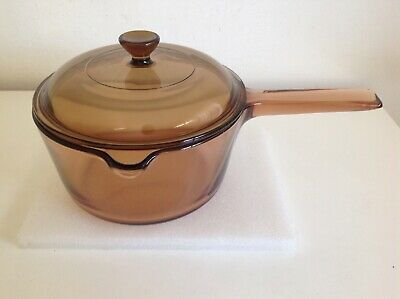Vintage Vision Corning Amber Glass Saucepan 1.5 Litre 18 Cm With Lid