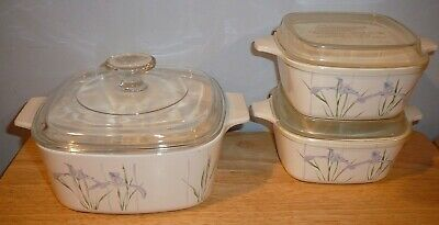 3 Corning Ware Shadow Irish Casseroles P-43-B & A-1 1/2-B