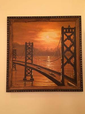 "Signed mid century cityscape ""bridge"" oil on canvas painting"