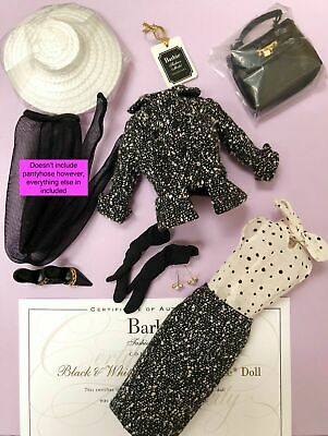Silkstone Barbie Doll Black & White Tweed Suit Shoes Outfit NO PANTYHOSE