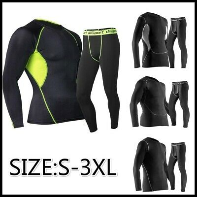 Men Sports Pro Tights Long Sleeved Trousers Suit Training Fitness Uniforms Sets