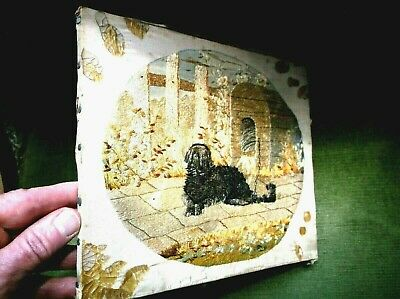Rare Antique 19Th C Miniature Silkwork Sampler Dog Chained To Kennel Dated 1883