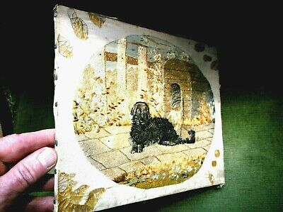 Rare Antique 19Th C Small Oval Silkwork Sampler Dog Chained To Kennel Dated 1883