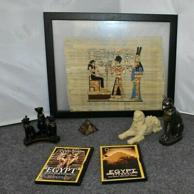 Egyptian Decor Lot Painted Papyrus Sphinx Statue Cat PAPYRUS DVDs Pyramid AJGE