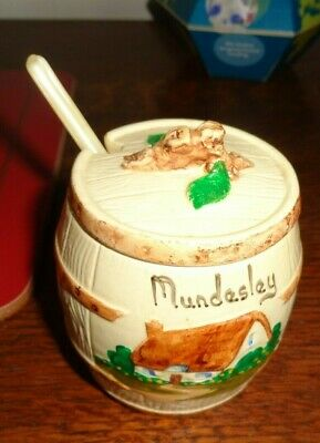 pottery barrel shaped mustard pot with spoon and liner