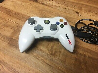 XBOX 360 WHITE Wired Controller (TESTED) Gamestop BB-070 w