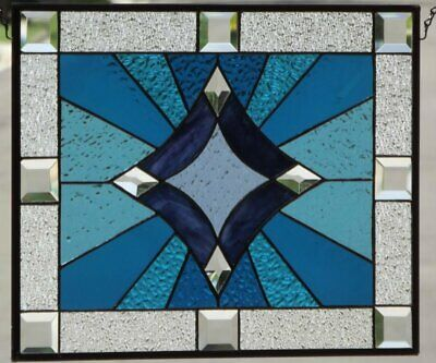 """• Shining Bright • -Beveled Stained Glass Window Panel • 19 5/8"""" x 15 7/8"""