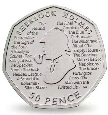 New Sherlock Holmes 2019 50p Fifty Pence Coin Rare Uncirculated from sealed bag