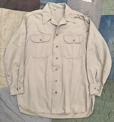 NAMED 40s/50s US Army Tan Cotton Shirt M Gas Flap Selvedge Gusset WWII Korea