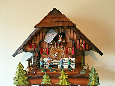 Black Forest Musical Mechanical Cuckoo Clock,With Dancers Music Band& Waterwheel