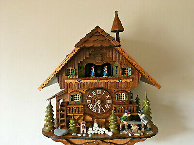 8-Day Mechanical Musical Cuckoo Clock Revolving Dancers & Moving Wood Sawers