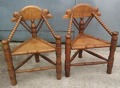 Antique Or Vintage Solid Oak Pair Of Church Corner Chairs With Bobbing Details