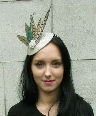 Champagne Cream Green Peacock Pheasant Feather Hat Fascinator Races Hair 7288