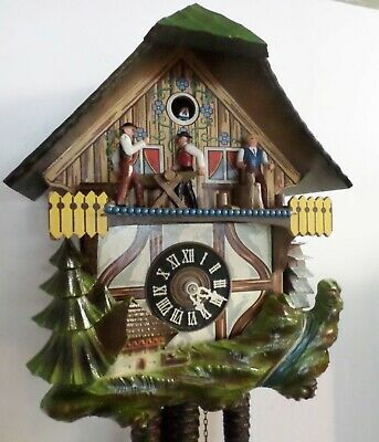 Nice German Black Forest Music Animated Wood Chopper Sawyer Chalet Cuckoo Clock!