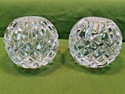 Waterford Lismore Cut Crystal Ball Taper Candle Holder Set
