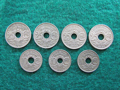 French Coin Collective Between 1920 - 1930 Inc 10 & 25 Centime Coins Ungraded