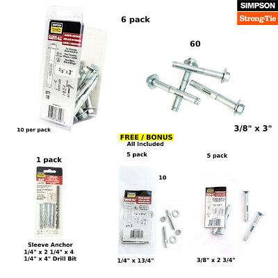 """Sleeve Anchor 3/8"""" x 3"""" HH Simpson Strong Tie - SL37300H Zinc Plated 20 pieces"""