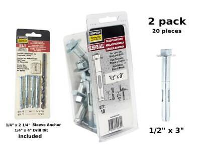 """Sleeve All Anchor 1/2"""" x 3 HH"""" Simpson Strong Tie - SL50300H Zinc Plated 20piec"""