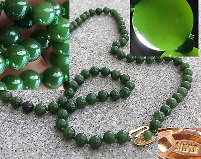 Vintage Or Antique Chinese Fine Natural Green Nephrite Jade Necklace Silver Clas