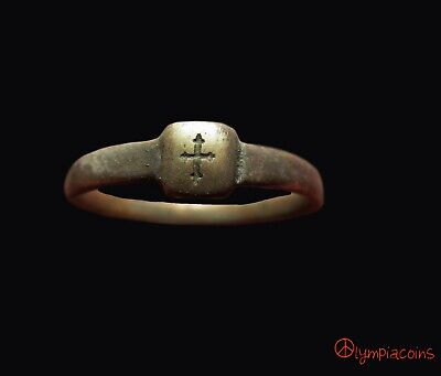 ** EXCELLENT **  Medieval Bronze   ring ** CROSS **