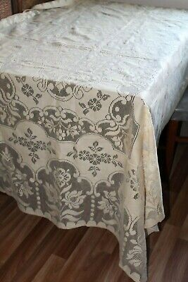 VTG 30s 40s 100% Cotton Filet Crochet 77 X 55 Cream Tea Stained Lace TABLE CLOTH