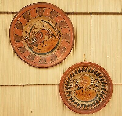 2 Vintage Tonala Mexican Pottery Bird Wall Hanging Charger Plates