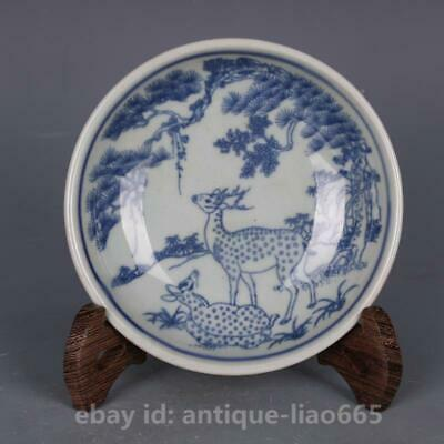 Stunning Old Chinese Blue and White Porcelain Plate Painted Animal Deer Signed