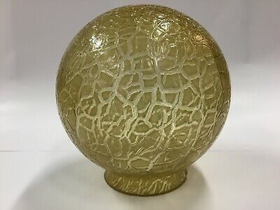 "Original Art Deco Shade Glass Amber Crackle Sphere 6"" Lamp Light Diana Round"