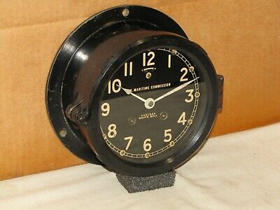 """Chelsea U.s.navy Ships Bell Clock~6""""Dial~Victory Ship~1945~Restored"""