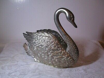 "Vintage Godinger Silver Plated Swan Letter Or Napkin Holder 6"" Tall - Very Nice!"