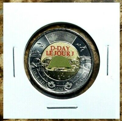 Canada 2019 D-Day Colourized Toonie From Mint Roll!!