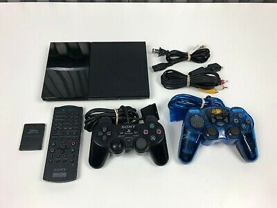 Sony Playstation 2 PS2 Slim Charcoal Black Console /w 2 Controllers, Memory