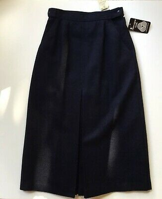 Vintage Retro 80s Sportscraft Navy Wool Lined Kick Pleat Skirt 10