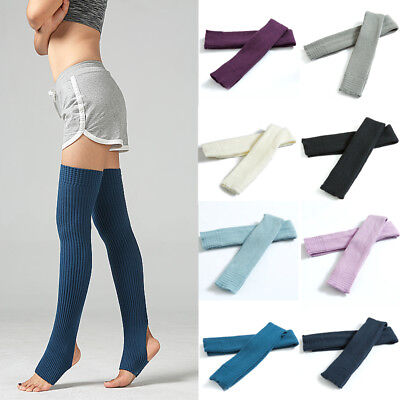 Women Winter Yoga GYM Cable Knit Extra Long Socks Over Knee Thigh High Stocking