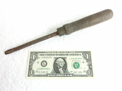 ANTIQUE UNKNOWN MAKER GOOD QUALITY SCREWDRIVER with WOOD ~ BRASS BANDED HANDLE