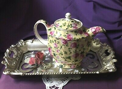 ~'~ Very Rare!  Elegant ~ English ~ Sadler ~ Yellow Rose Chintz ~ Teapot ~'~