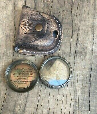 Antique Brass Working Compass With Leather Case Marine Lover Compass