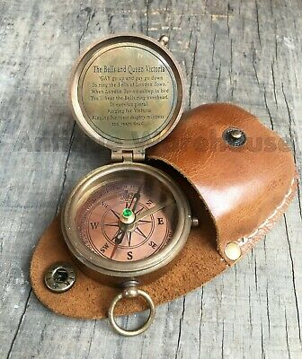 Nautical Brass Compass Antique Pocket Compass With Leather Case Vintage Gift