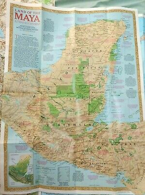 National Geographic Land of Maya Traveler's MAP ONLY 1980s