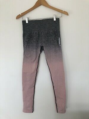Gymshark Ombre Seamless Leggings - Pink/Charcoal Size S