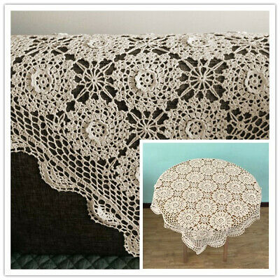 Vintage Hand Crochet Tablecloth Square Lace Cloth Doily Floral 31-33inch UDD