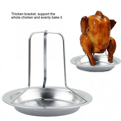 Roast Chicken Holder Stainless Steel Upright Roaster Rack BBQ Stand Grilled Pan