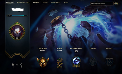 League of Legends Account LOL | Gold+ High MMR | EUW | 12.000 BE | 20-30 Champs