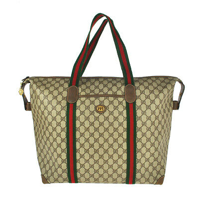 H32 GUCCI Authentic Sherry Webbing Travel bag Shoulder Hand Tote Vintage GG PVC